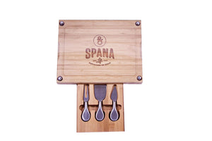 Spana Life Wooden Cutting Board with 3-Slot Utensil Drawer