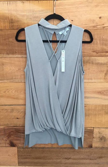 Gray/Teal Sleeveless Shirt