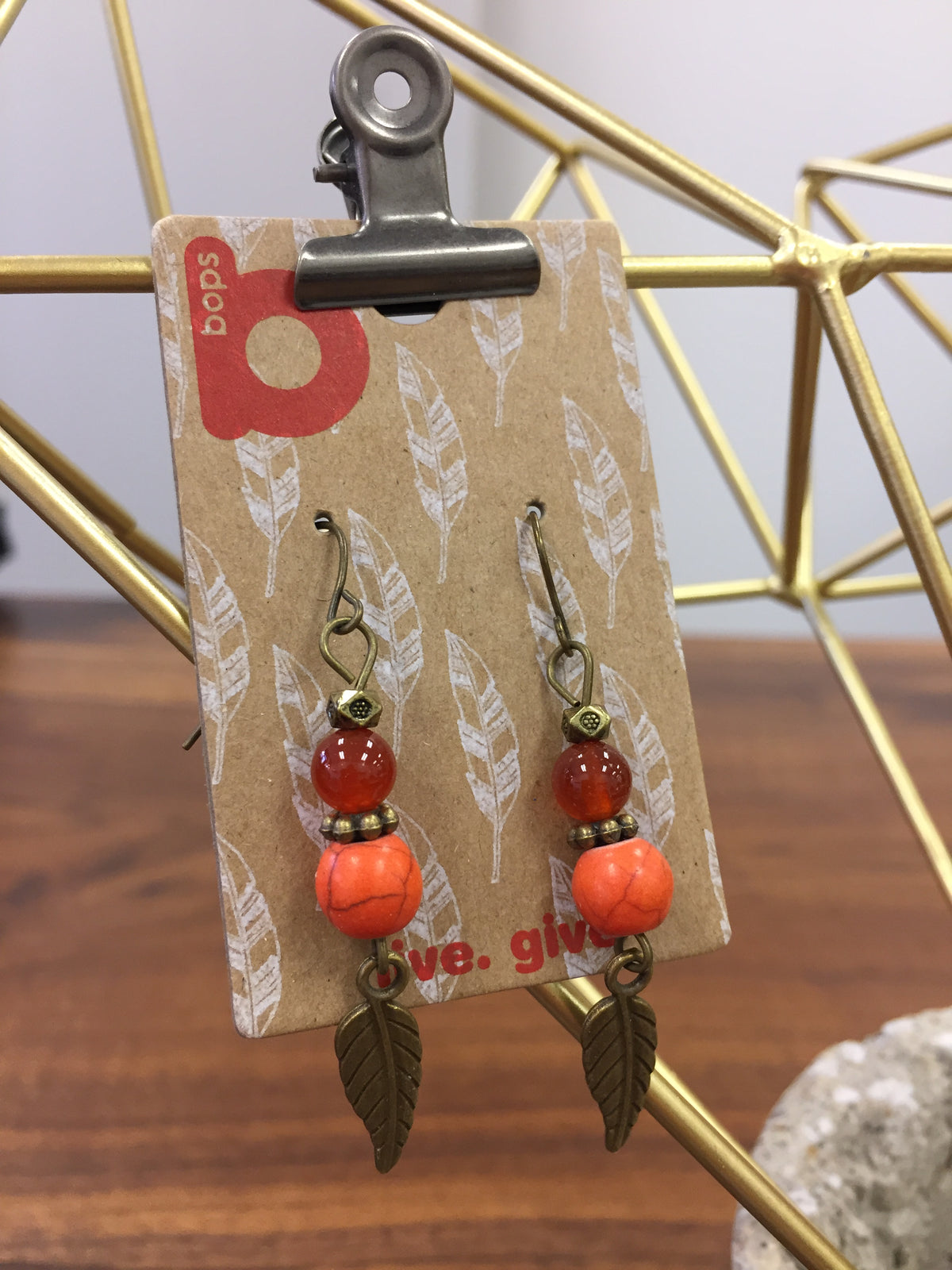 Orange Feather Dangle Earrings