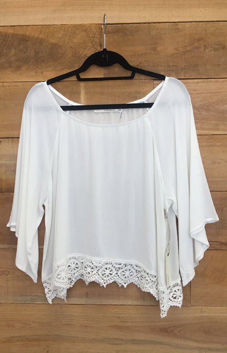 Lace Bottom Blouse - Plus Size