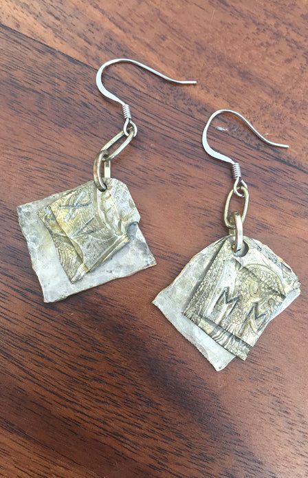 Mixed Metals Earrings- Squares