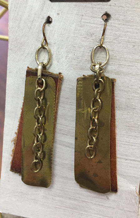 Mixed Metals Earrings with Leather