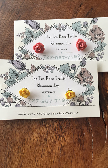 Rose Stud Earrings - Tea Rose Trellis
