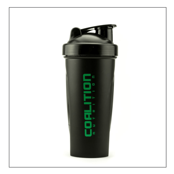 Coalition Nutrition Black Shaker Bottle w/ Green Logo