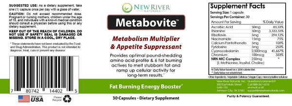 Metabovite - Lipotropic Fat Burner and Weight Loss Supplement