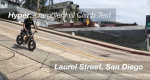 Going up one of the steepest hills in San Diego with the HyperScrambler!