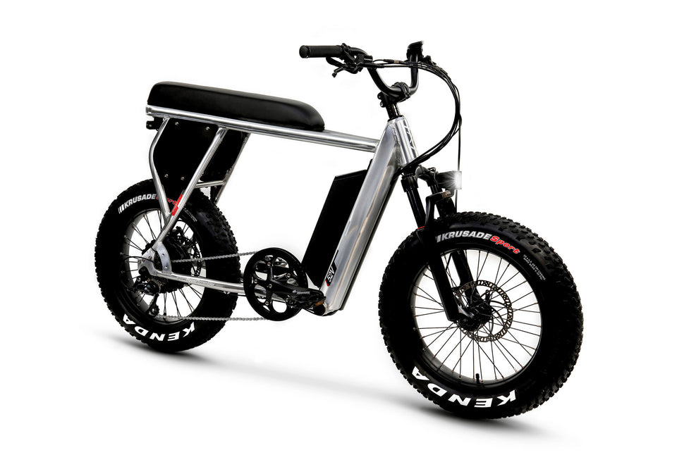 Front View of Brushed Aluminum HyperScrambler Electric Performance Bike