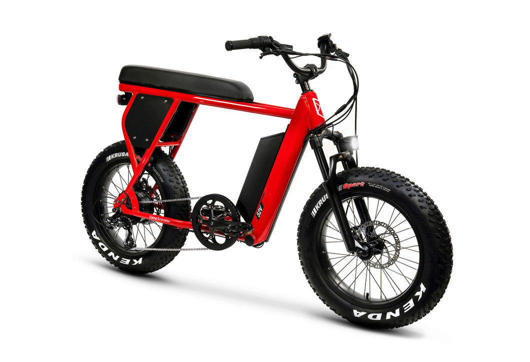 Front View of Red CampScrambler Electric Bike