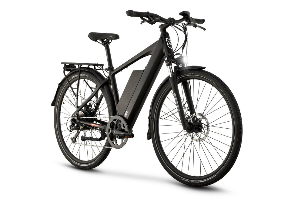 Front View of Black CrossCurrent X Electric Commuter Bike
