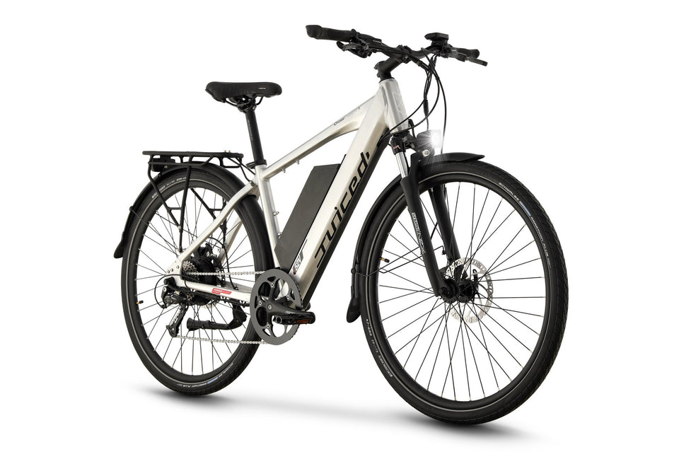 Front View of Brushed Aluminum CrossCurrent X Electric Commuter Bike
