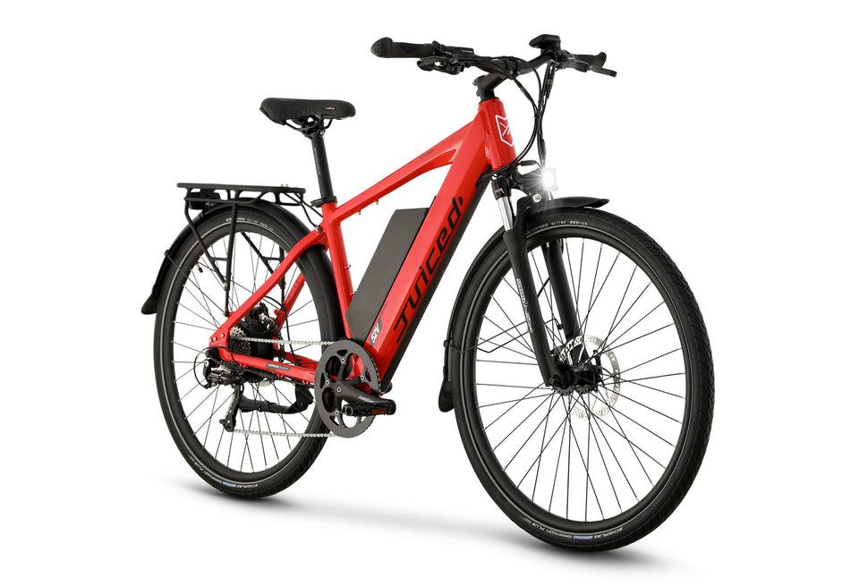 Front View of Red CrossCurrent X Electric Commuter Bike