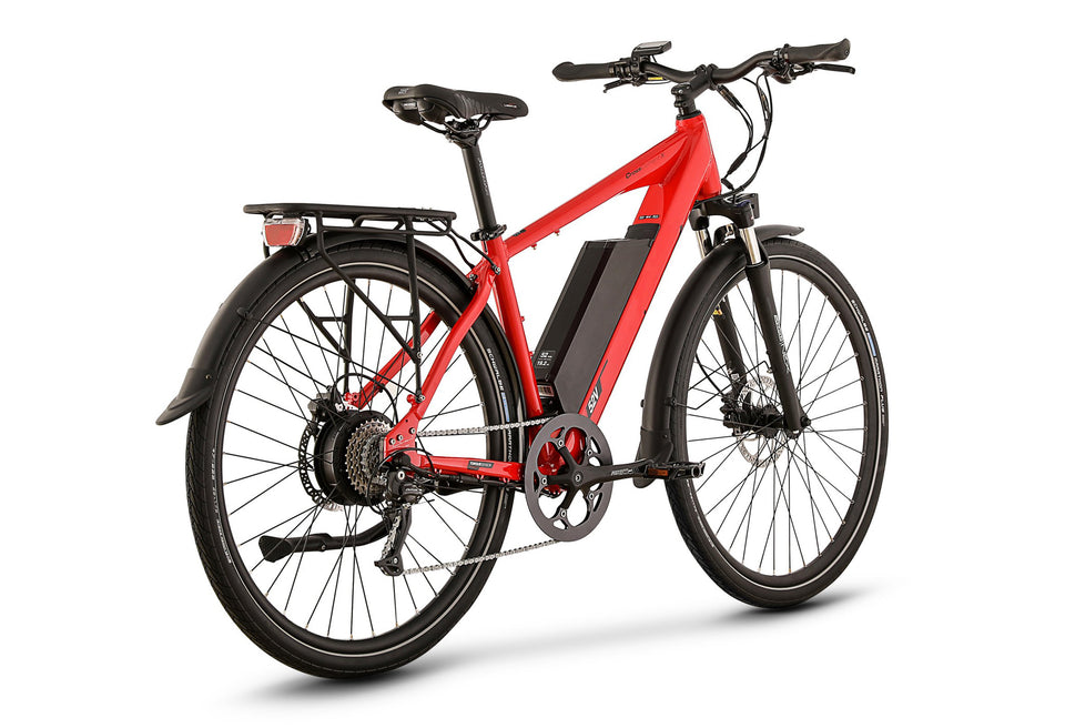 Rear View of Red CrossCurrent X Electric Commuter Bike