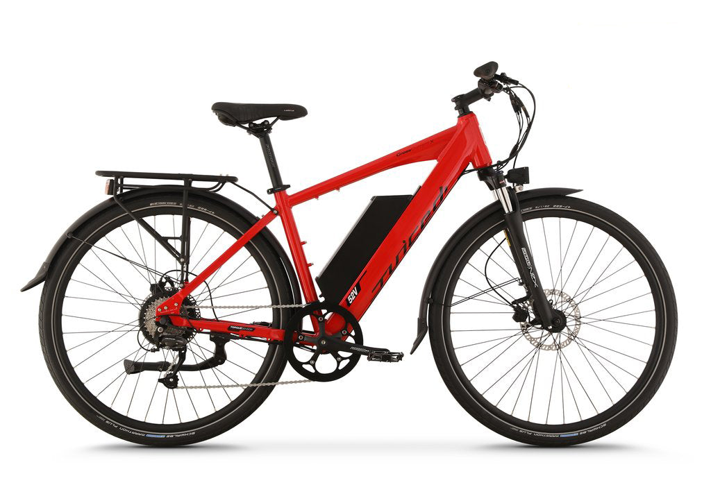0ce1242a670 ... Side View of Red CrossCurrent X Electric Commuter Bike ...