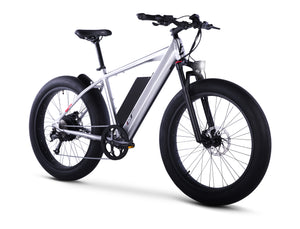Front View of Brushed Aluminum HyperFat Fat Tire Electric Bike