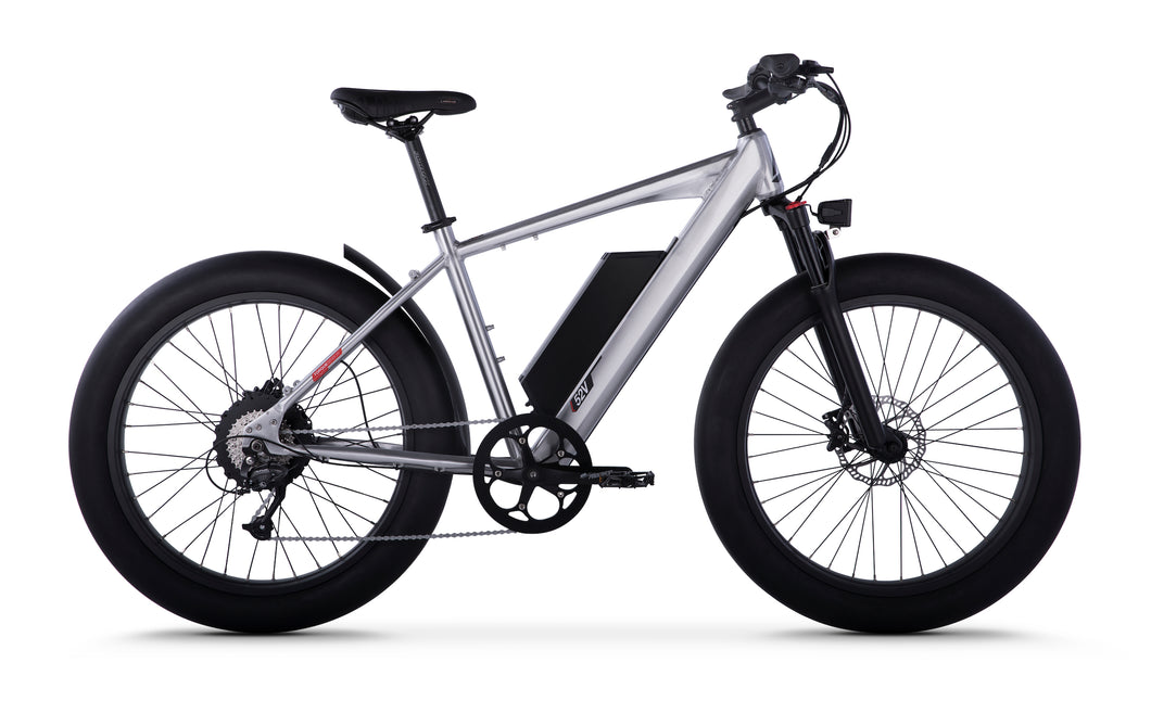 Side View of Brushed Aluminum HyperFat Fat Tire Electric Bike