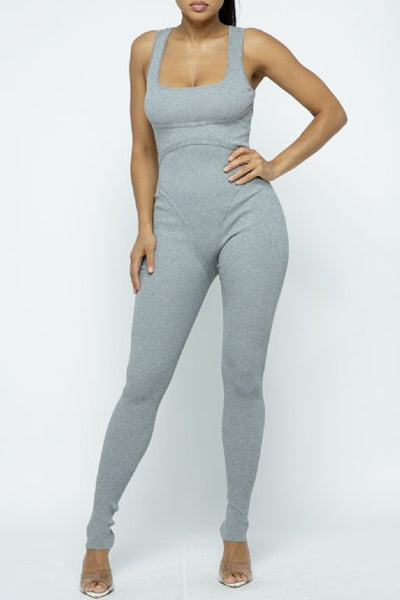 grey knit one piece jumpsuit