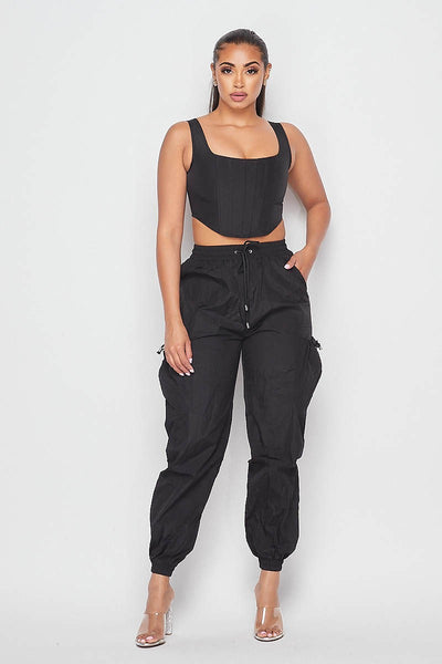 black TWO PIECE CORSET & PANTS SET