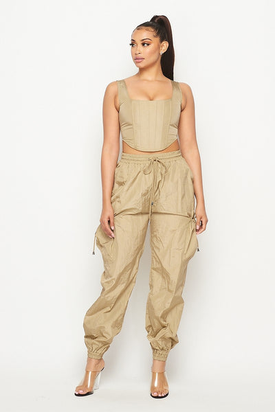 tan TWO PIECE CORSET & PANTS SET