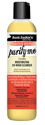 Aunt Jackie's Curls & Coils Flaxseed 'Purify Me' Co-Wash Cleanser 12 oz