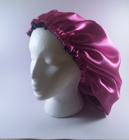 Pink & Black Reversible Satin Bonnet