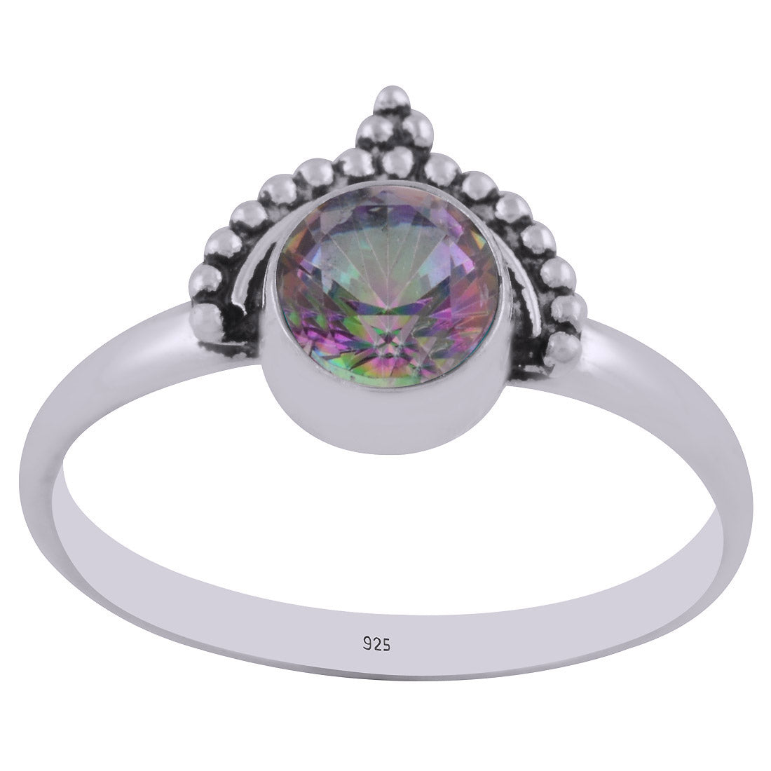 Bohemian Style Mystic Topaz Round Gemstone Ring in Sterling Silver