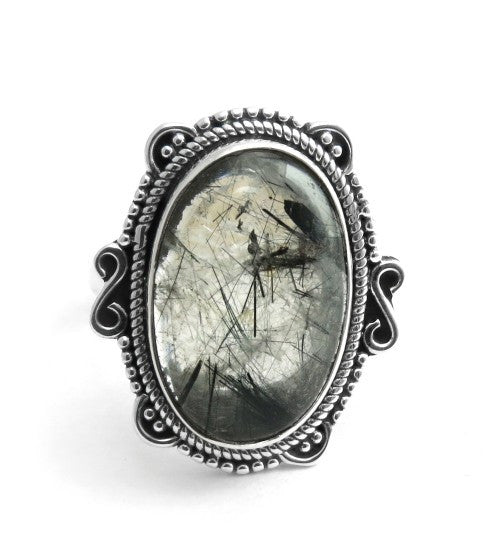 Black Rutile 925 Ring - Boho Lake