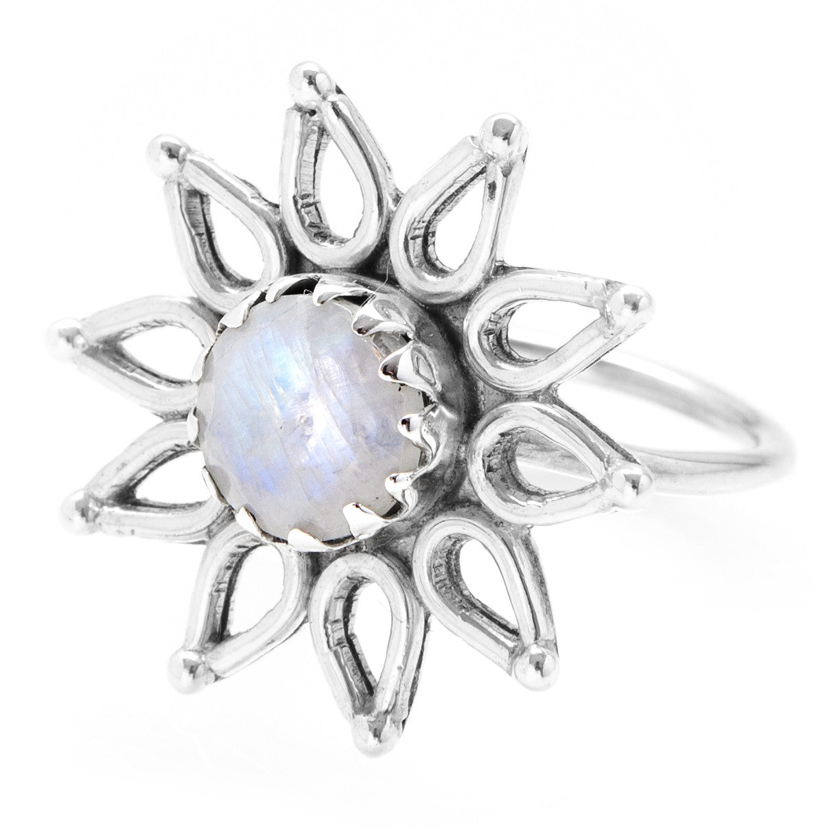 Eternal Flower Rainbow Moonstone 925 Ring - Boho Lake