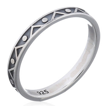Geometric Aztec Band 925 Ring