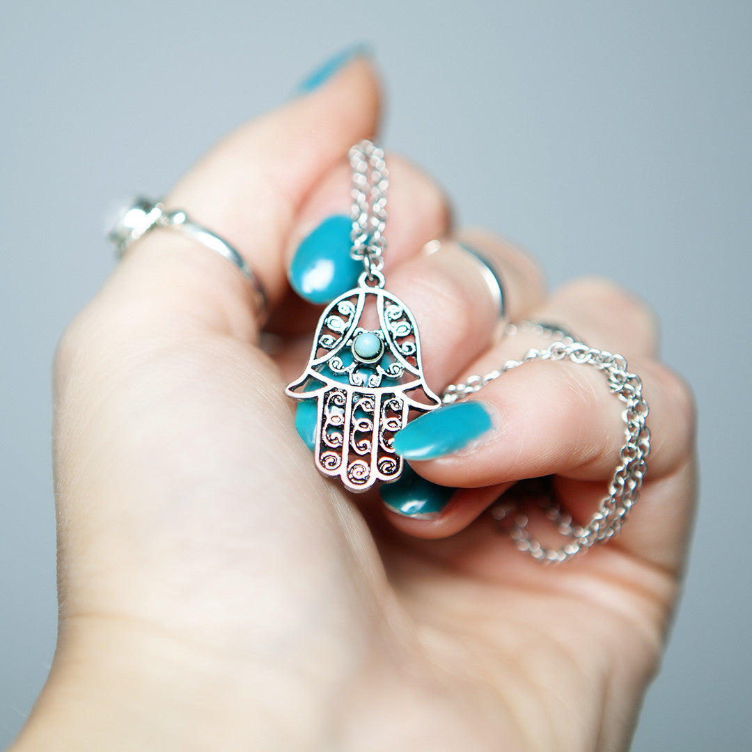 Hamsa Hand Necklace - Boho Lake