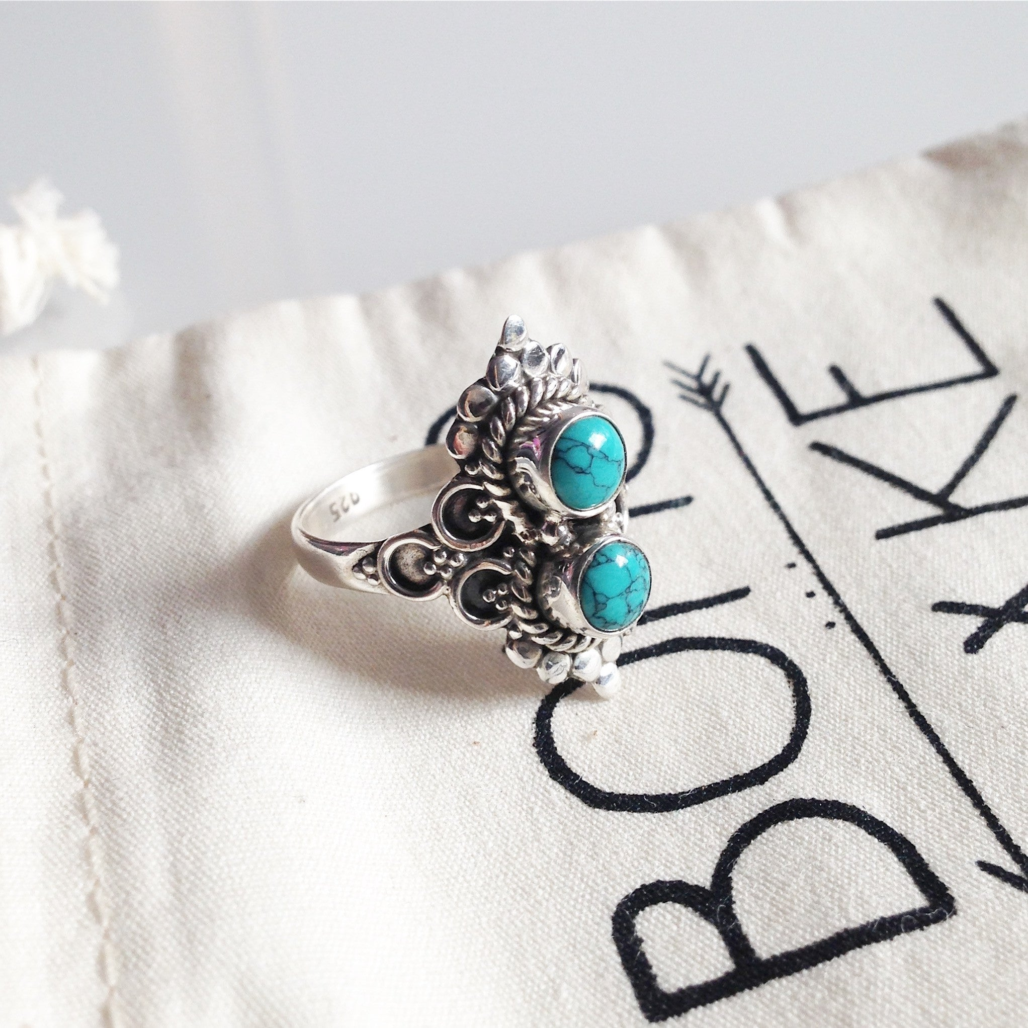 Double Ora Turquoise 925 Ring