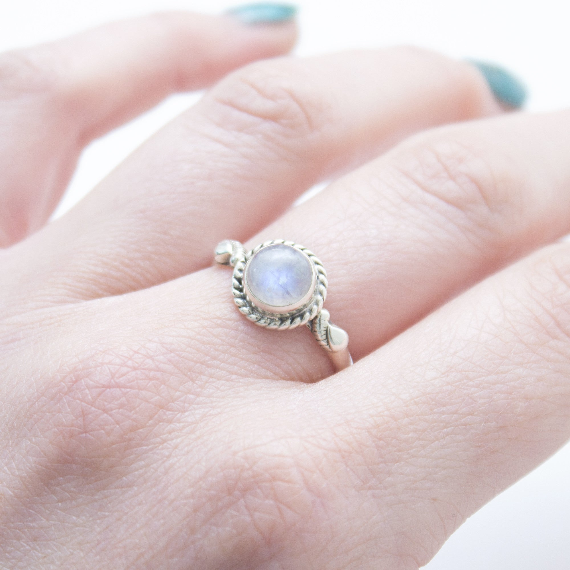 Rainbow Moonstone 925 Ring - Boho Lake