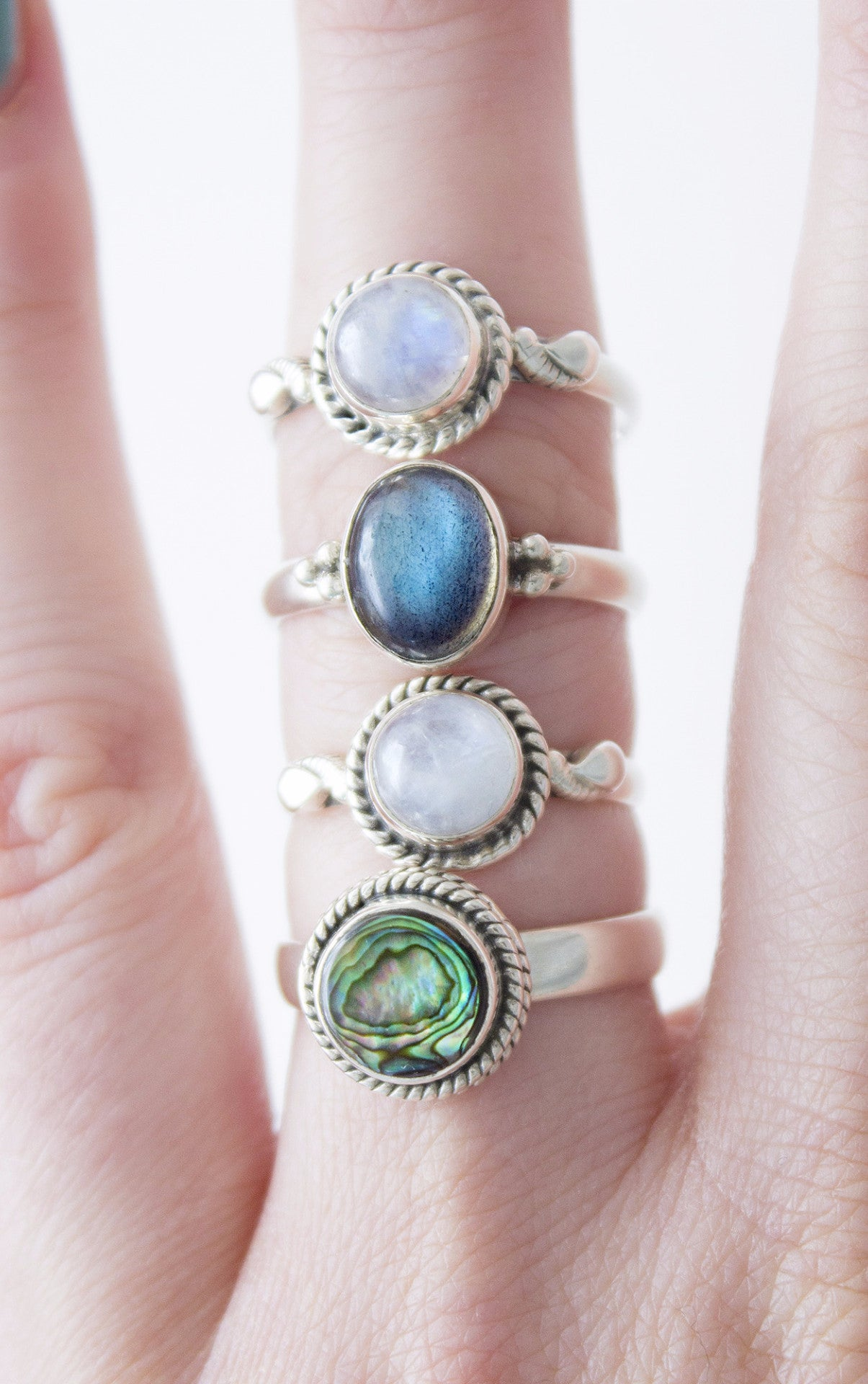 lyst stackable jewelry ring silver maya blue in rings gallery lagos product abalone normal