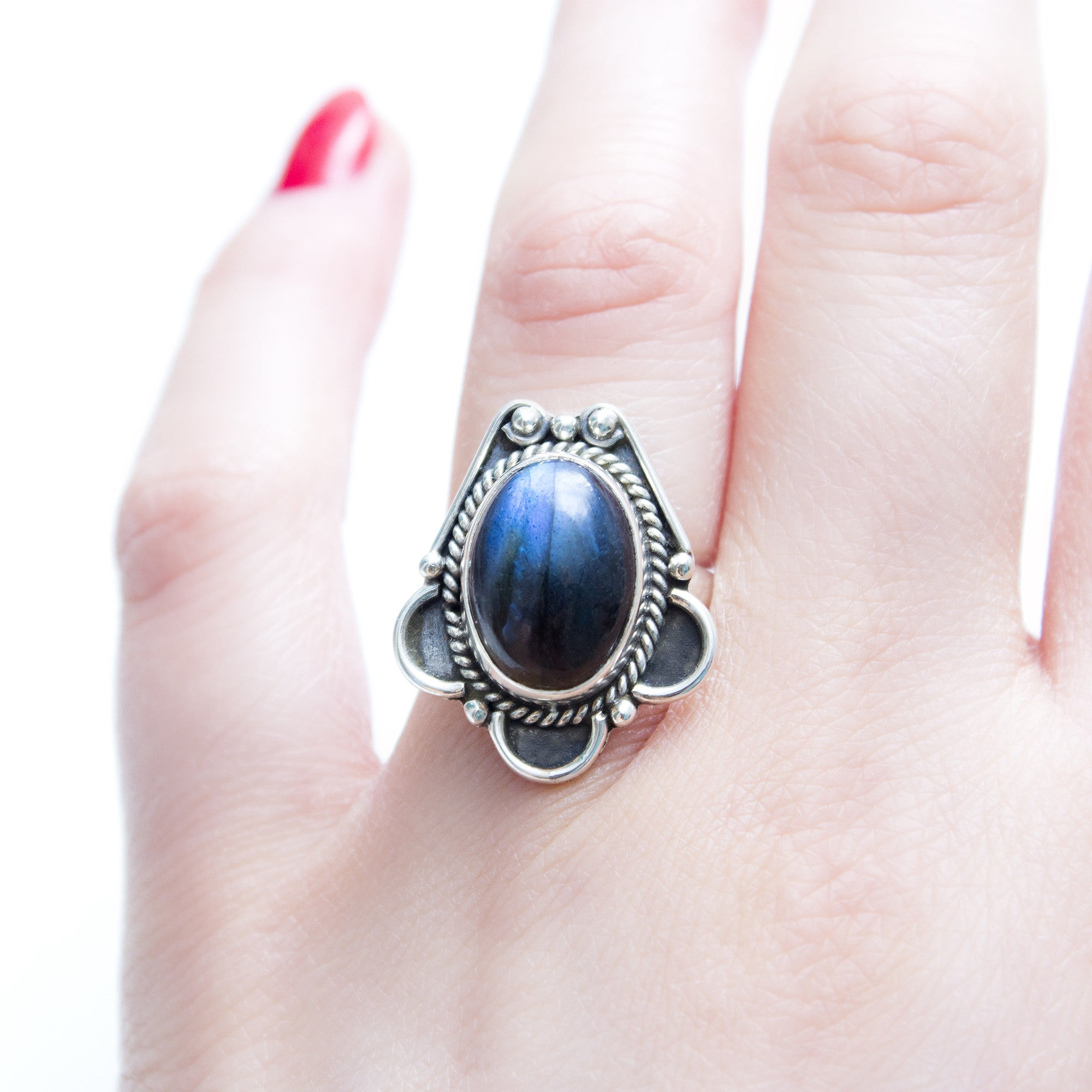 Midnight Blue Labradorite 925 Ring