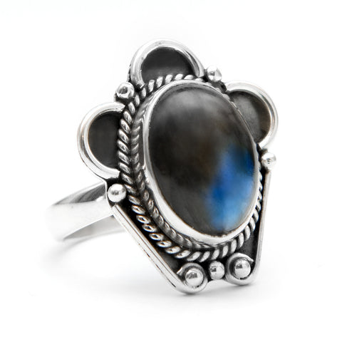 Midnight Blue Labradorite 925 Ring - Boho Lake