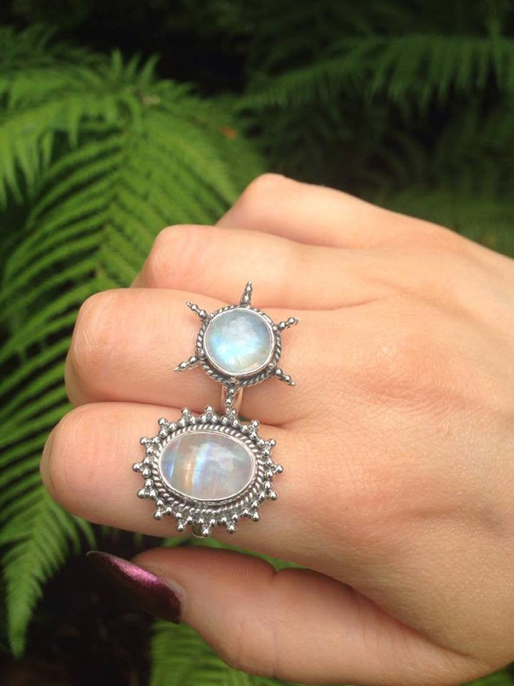 Morning Star Rainbow Moonstone 925 Ring - Boho Lake