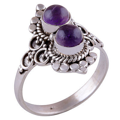 Double Ora Amethyst 925 Ring - Boho Lake