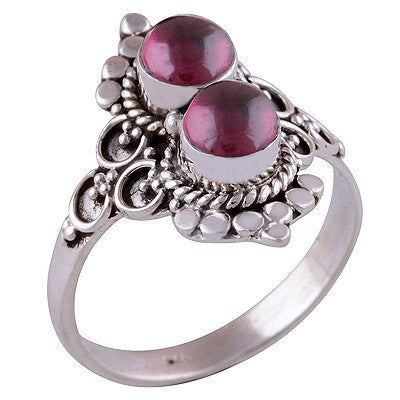 Double Ora Garnet 925 Ring - Boho Lake