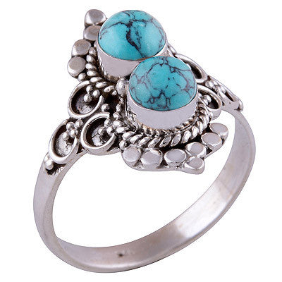 Double Ora Turquoise 925 Ring - Boho Lake