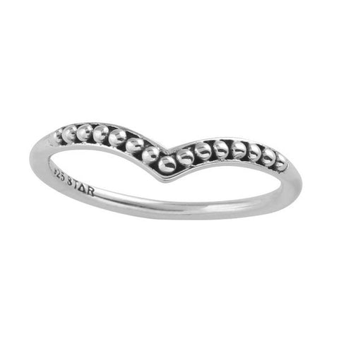 Beaded Wishbone 925 Ring - Boho Lake