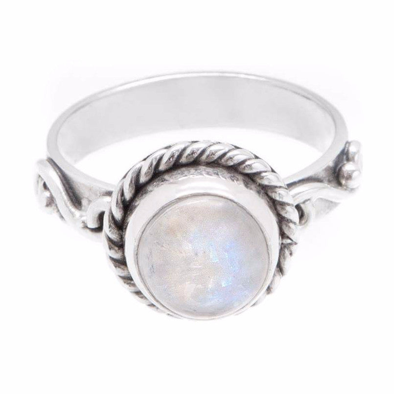Large Rainbow Moonstone 925 Ring - Boho Lake