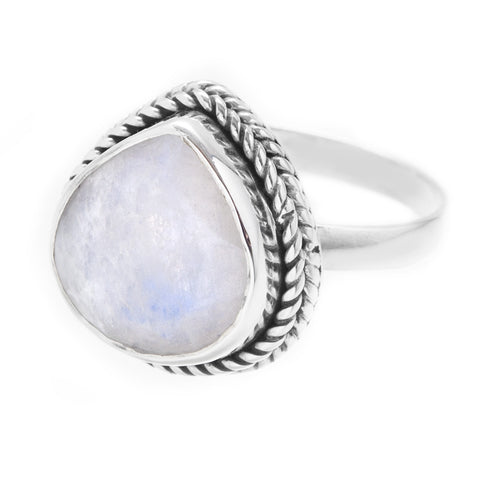 Teardrop Rainbow Moonstone 925 Ring - Boho Lake