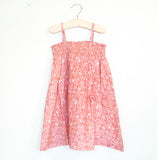 SALMON LEAF SMOCKED SUNDRESS