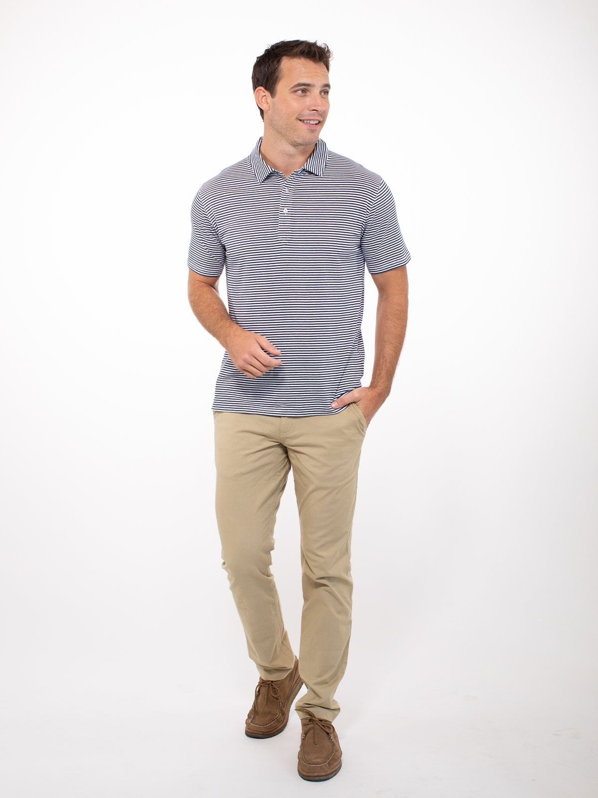 Bamboo Air Stretch Polo - tasc Performance (ClassicNavyWhite)