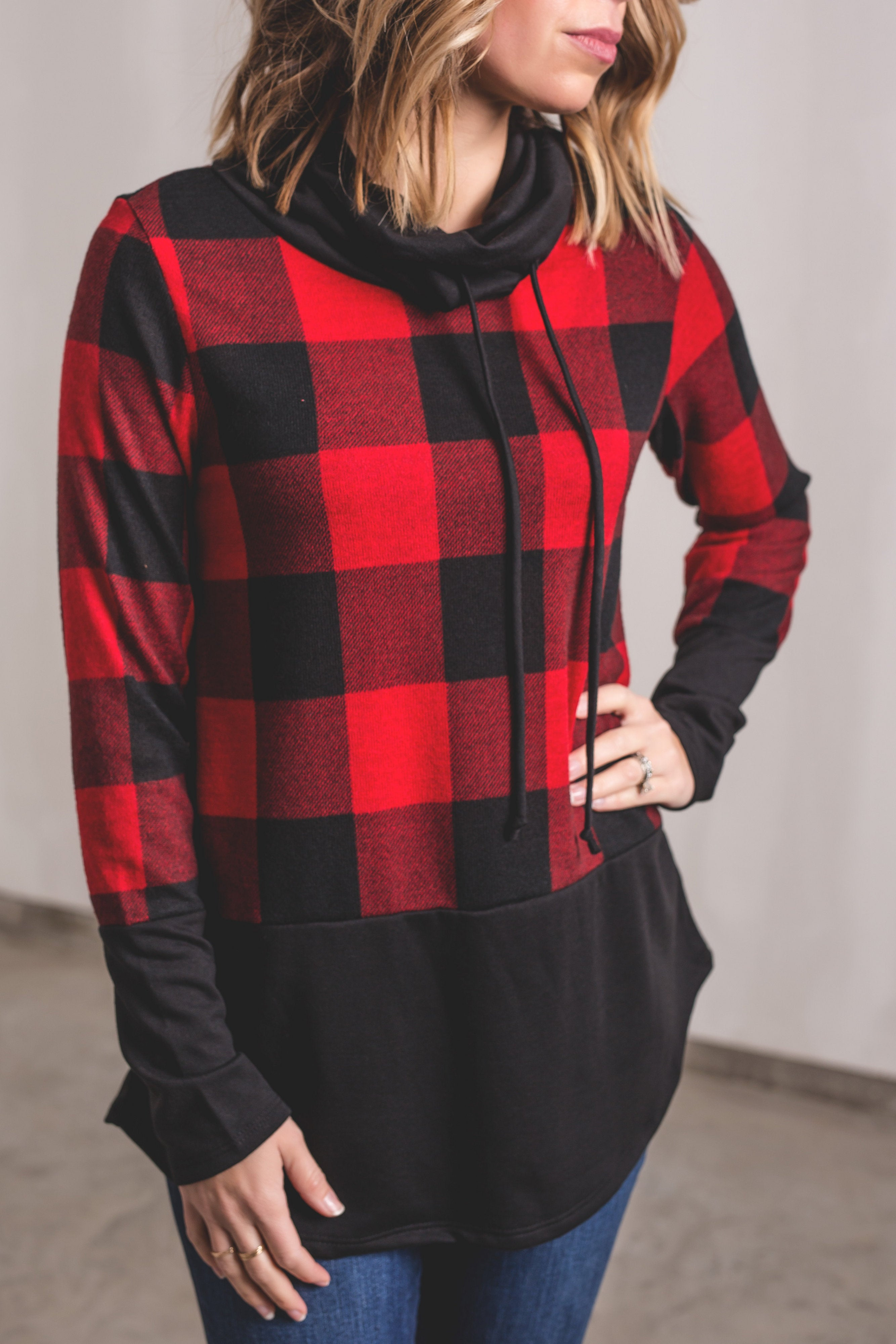 Plaid Terry Cowl Neck Pullover | VerClare Boutique