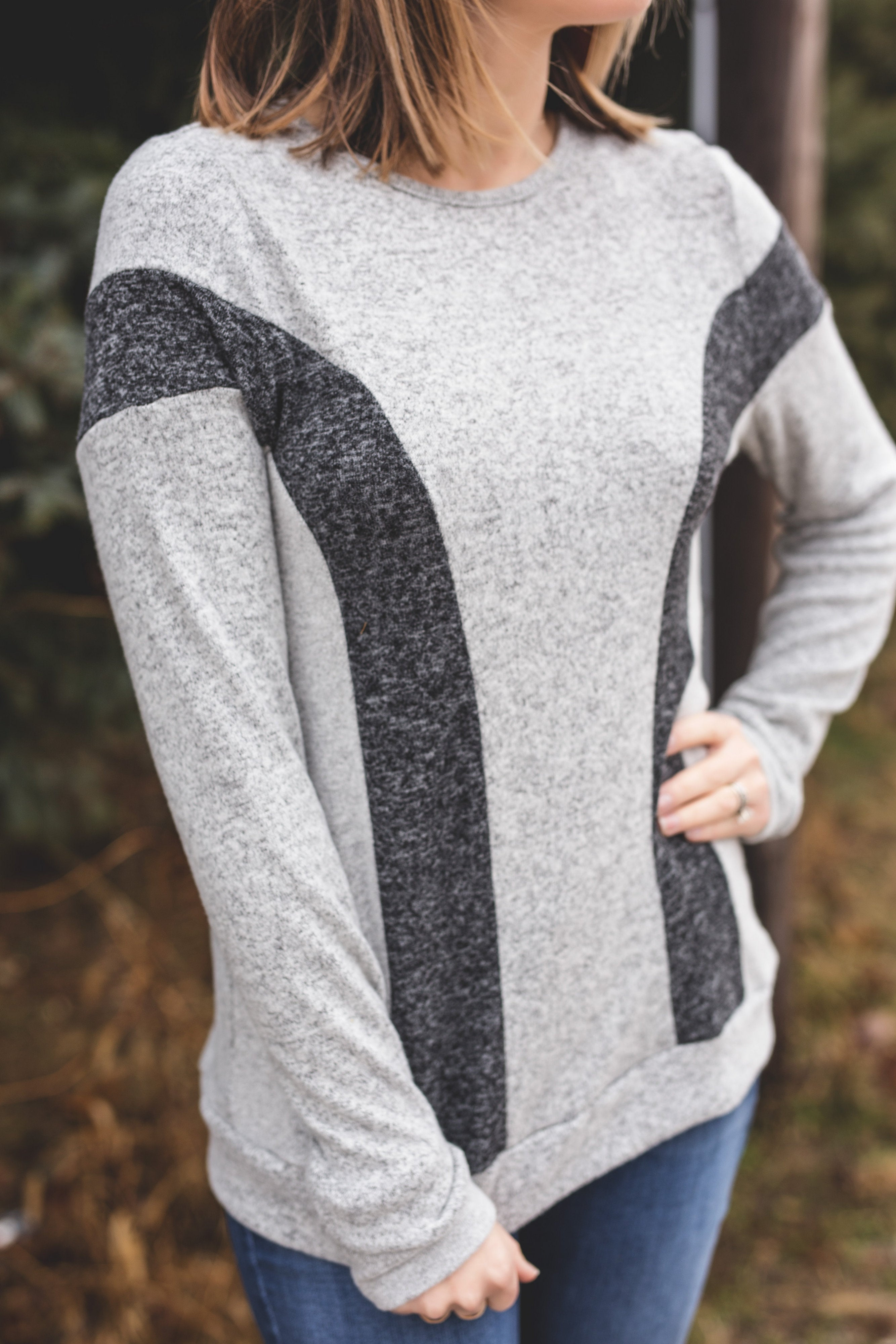 Two-Tone Charcoal Top | VerClare Boutique