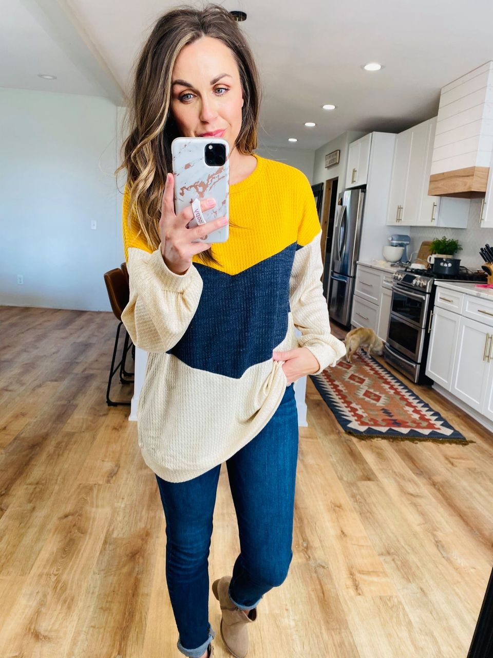 Chevron Navy & Mustard Top - VerClare Boutique