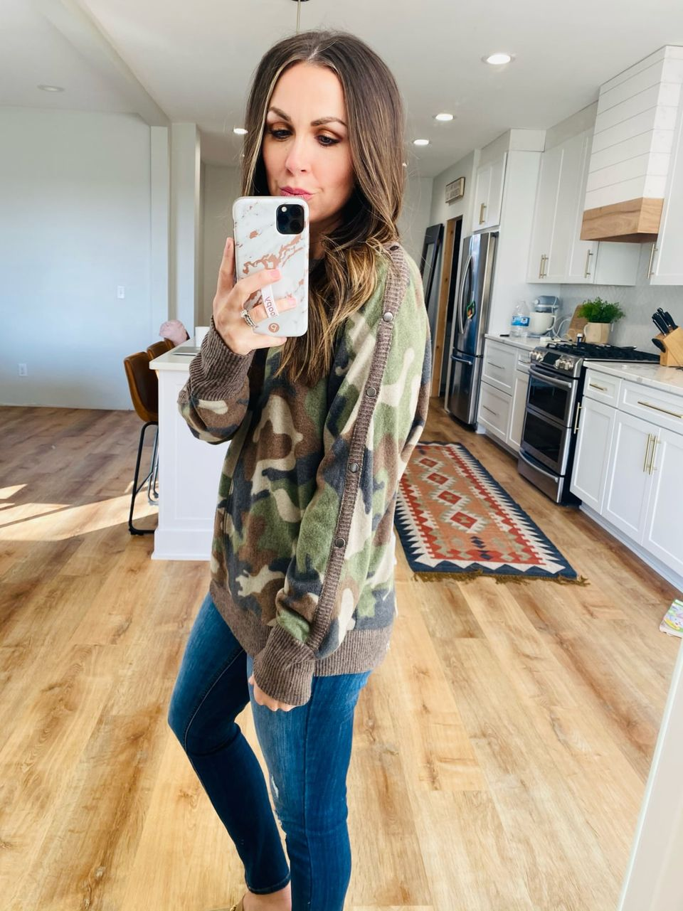 Olive Camo Brushed Hacci Top - VerClare Boutique