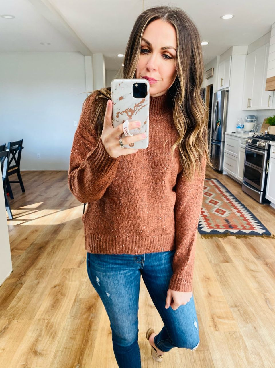 Mock Neck Mixed Thread Sweater - VerClare Boutique