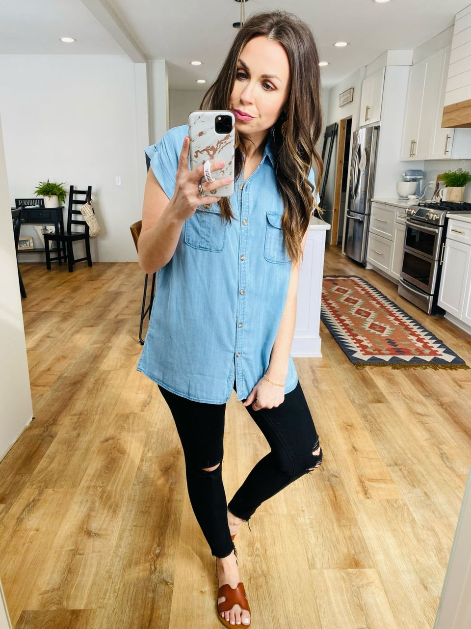 Denise Button-Down Denim Shirt - VerClare Boutique