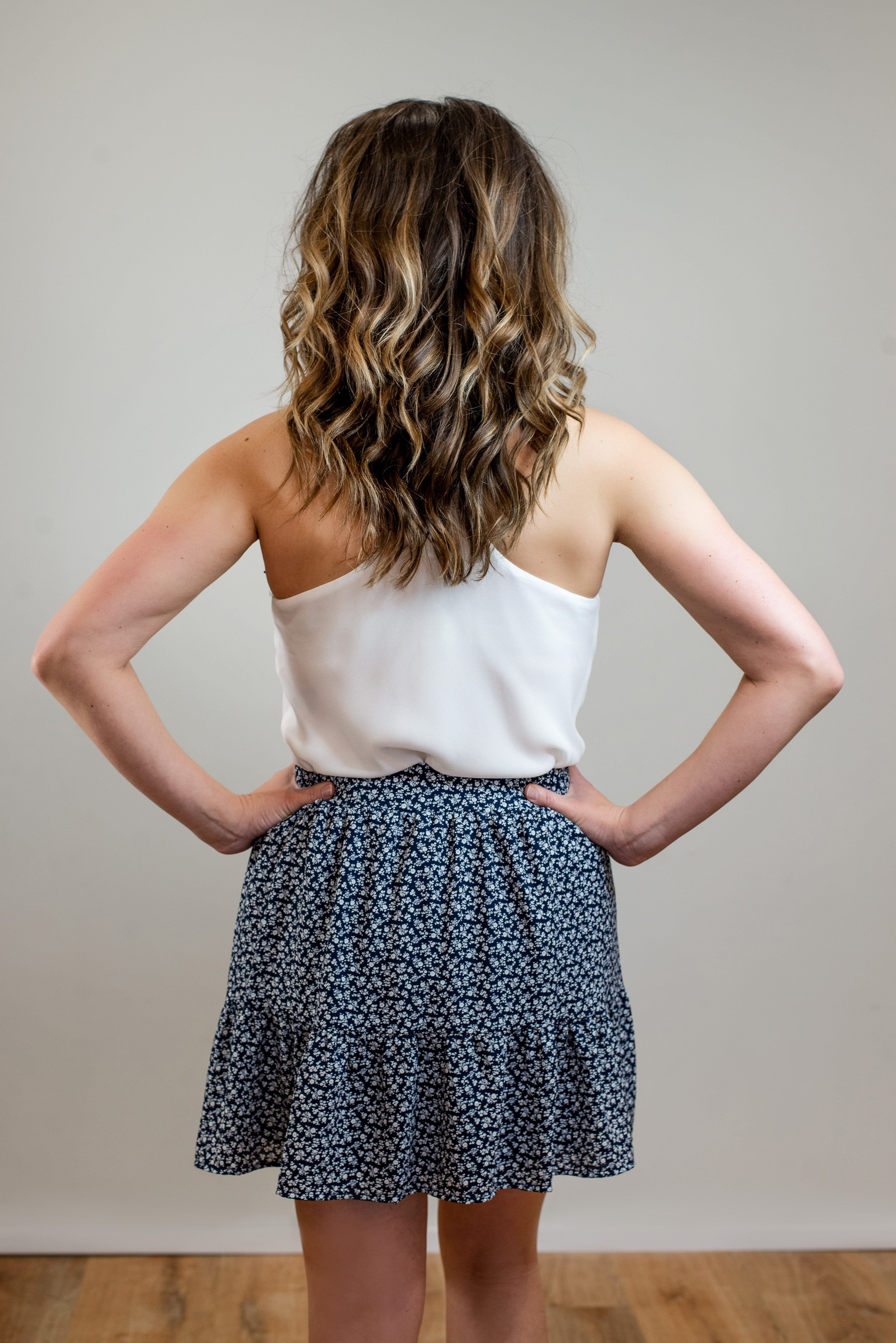 Ditzy Print Tiered Skirt